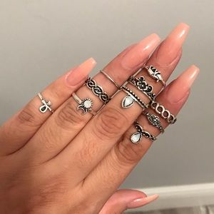 Boho Chic Crystal Knuckle/Midi Ring Set of 10